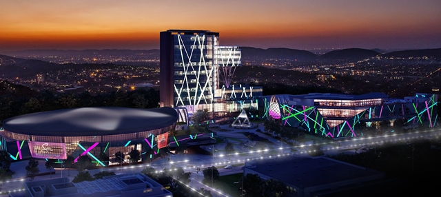 SI - Menlyn Maine Casino - artist impression - Time Square at night